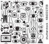 web eyes   doodles set  | Shutterstock .eps vector #486031558