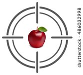 abstract target icon with apple.... | Shutterstock .eps vector #486032998