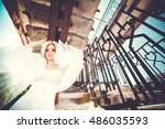 beautiful blonde bride. wedding ... | Shutterstock . vector #486035593