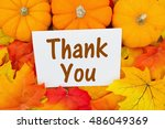 thank you message  some fall... | Shutterstock . vector #486049369