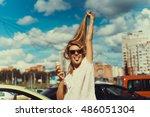 summer  junk food and people... | Shutterstock . vector #486051304