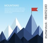 polygonal mountains with a flag ... | Shutterstock .eps vector #486052183