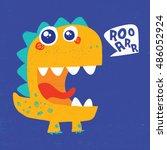 cute dinosaur illustration with ... | Shutterstock .eps vector #486052924