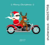 merry christmas  santa claus... | Shutterstock .eps vector #486057958
