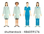 set of doctors in flat style. | Shutterstock .eps vector #486059176