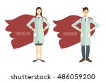 super doctor. set of two... | Shutterstock .eps vector #486059200