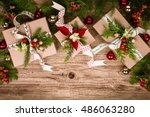 christmas background with gift...   Shutterstock . vector #486063280