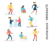 winter activities cartoon set.... | Shutterstock .eps vector #486066670