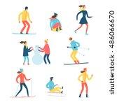 Winter Activities Cartoon Set....