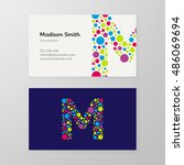modern letter m circle colorful ... | Shutterstock .eps vector #486069694