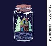 vector illustration with vial.... | Shutterstock .eps vector #486070456