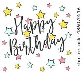 happy birthday card ... | Shutterstock .eps vector #486070516