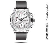 watch chronograph steel vector... | Shutterstock .eps vector #486070660