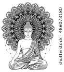 sitting buddha over ornate... | Shutterstock .eps vector #486073180