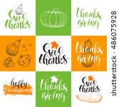 set thanksgiving day cards.... | Shutterstock .eps vector #486075928
