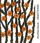 hand painted picture  gouache ... | Shutterstock . vector #486076984