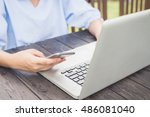 cell phone with blank screen in ...   Shutterstock . vector #486081040