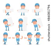 set of smart and funny... | Shutterstock .eps vector #486081796