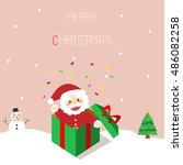 santa claus is in the gift box | Shutterstock .eps vector #486082258