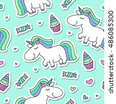vector seamless pattern of cute ... | Shutterstock .eps vector #486085300