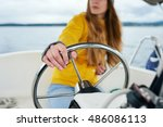 young woman's hands on the... | Shutterstock . vector #486086113