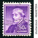 Small photo of UNITED STATES OF AMERICA - CIRCA 1940: A used postage stamp from the USA, depicting an illustration of American social reformer and women's rights advocate Susan. B. Anthony, circa 1940.