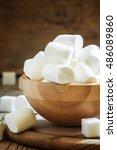 big marshmallows in bowl ... | Shutterstock . vector #486089860