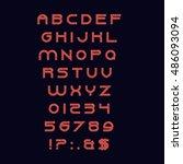 vector alphabet with numbers ... | Shutterstock .eps vector #486093094