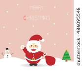santa claus is coming up in the ... | Shutterstock .eps vector #486095548