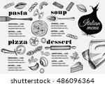 italian menu placemat food... | Shutterstock .eps vector #486096364