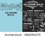 seafood menu placemat food... | Shutterstock .eps vector #486096370