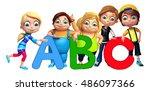3d rendered illustration of kid ... | Shutterstock . vector #486097366