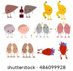 collection of cartoon internal... | Shutterstock .eps vector #486099928