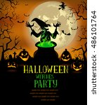 halloween witches party poster... | Shutterstock .eps vector #486101764