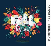 text fall festival in paper... | Shutterstock .eps vector #486102190
