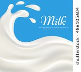 milk with splashes realistic... | Shutterstock .eps vector #486105604