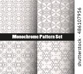 geometry monochrome seamless... | Shutterstock .eps vector #486107956