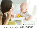 mother teaching kid teeth... | Shutterstock . vector #486108388