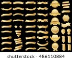banner gold vector icon set on... | Shutterstock .eps vector #486110884