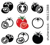 tomato vegetable icon... | Shutterstock .eps vector #486112888