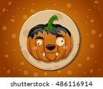 werewolf pumpkin icon | Shutterstock .eps vector #486116914
