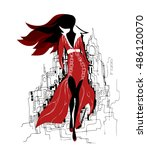 fashion girl in sketch style.... | Shutterstock .eps vector #486120070