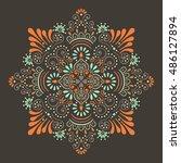 flower mandala. vintage... | Shutterstock .eps vector #486127894