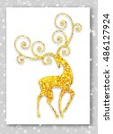 gold deer in modern style.... | Shutterstock .eps vector #486127924