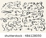 decorative hand drawn swirl... | Shutterstock .eps vector #486128050