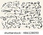 decorative hand drawn swirl... | Shutterstock .eps vector #486128050