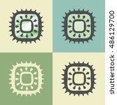 vector outline kiwi food icon... | Shutterstock .eps vector #486129700