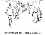 group of people walking free... | Shutterstock . vector #486132070