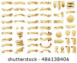 banner gold vector icon set on... | Shutterstock .eps vector #486138406