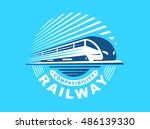 train logo illustration on blue ... | Shutterstock .eps vector #486139330
